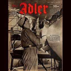 0637	 DER ADLER	 -No.	6	-1943	 vintage German Luftwaffe Magazine Air Force WW2 WWII