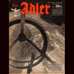 0643 DER ADLER -No.2-1943 vintage German Luftwaffe Magazine Air Force WW2 WWII