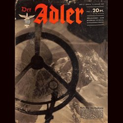 0645	 DER ADLER	 -No.	2	-1943	 vintage German Luftwaffe Magazine Air Force WW2 WWII