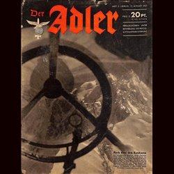 0645 DER ADLER -No.2-1943 vintage German Luftwaffe Magazine Air Force WW2 WWII