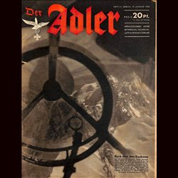 0648	 DER ADLER	 -No.	2	-1943	 vintage German Luftwaffe Magazine Air Force WW2 WWII