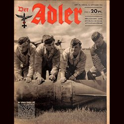 0664	 DER ADLER	 -No.	19	-1943	 vintage German Luftwaffe Magazine Air Force WW2 WWII