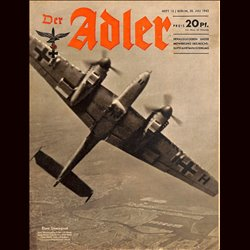 0720 DER ADLER -No.15-1943 vintage German Luftwaffe Magazine Air Force WW2 WWII