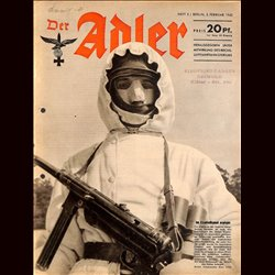 0766	 DER ADLER	 -No.	3	-1943	 vintage German Luftwaffe Magazine Air Force WW2 WWII