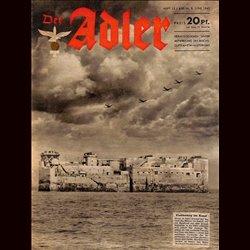 0650 DER ADLER -No.12-1943 vintage German Luftwaffe Magazine Air Force WW2 WWII