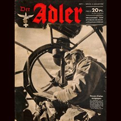 0618	 DER ADLER	 -No.	1	-1942	 vintage German Luftwaffe Magazine Air Force WW2 WWII