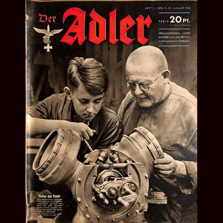 0615 DER ADLER -No.2-1942 vintage German Luftwaffe Magazine Air Force WW2 WWII