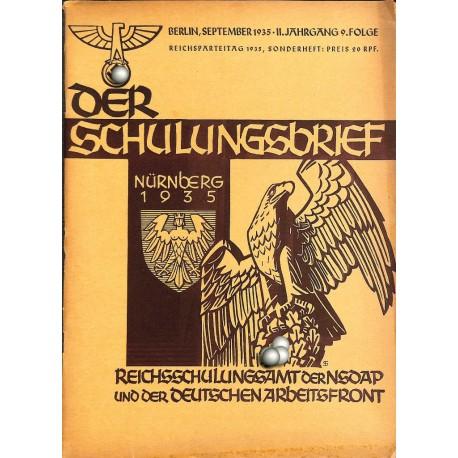 6564 DER SCHULUNGSBRIEF No. 9-1935 Sonderheft Reichsparteitag-2nd year September Nürnberg 1935