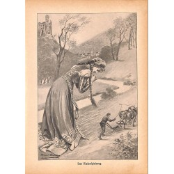 "0131	 Giant woman Riesenspielzeug	 vintage german print 1904 size 6.3"" x 8.98"" / 16 cm x 22,8 cm - 100% authentic"