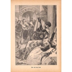 "0136	 Otto murder knights	 vintage german print 1904 size 6.3"" x 8.98"" / 16 cm x 22,8 cm - 100% authentic"