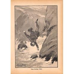"""0138 Hans Heilling Felsen vintage german print 1904 size 6.3"""" x 8.98"""" / 16 cm x 22,8 cm - 100% authentic"""
