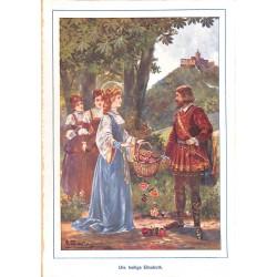 "0146 Holy Elisabeth knight vintage german print 1904 size 6.3"" x 8.98"" / 16 cm x 22,8 cm - 100% authentic"