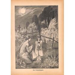 """0149 child ghosts Tränenkrüglein vintage german print 1904 size 6.3"""" x 8.98"""" / 16 cm x 22,8 cm - 100% authentic"""