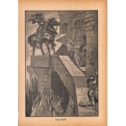 "0154 Burg Kynait knight king vintage german print 1904 size 6.3"" x 8.98"" / 16 cm x 22,8 cm - 100% authentic"