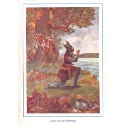 """0166 Jaczo Schildhorn horn vintage german print 1904 size 6.3"""" x 8.98"""" / 16 cm x 22,8 cm - 100% authentic"""
