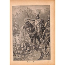 "0170	 knight Dietrich von Bern saga	 vintage german print 1904 size 6.3"" x 8.98"" / 16 cm x 22,8 cm - 100% authentic"