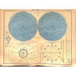 0177 Map/Print- heaven stars astrology sun - No.01Vintage German Map Print 1902 size:26x34cm
