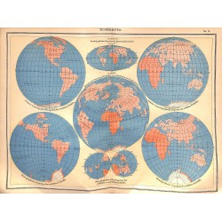 0178	 Map/Print- 	planet map earth globe continents	 - No.	02	Vintage German Map Print 1902 size:26x34cm