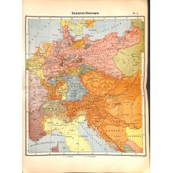 0180 Map/Print- Central Europe German Empire Germany Middle Europe - No.04Vintage German Map Print 1902 size:26x34cm