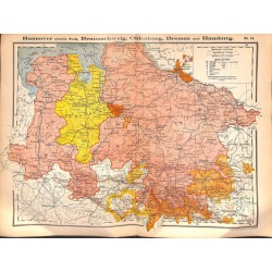 0187	 Map/Print- 	Brunswick Braunschweig Oldenburg Bremen Hamburg	 - No.	14	Vintage German Map Print 1902 size:26x34cm