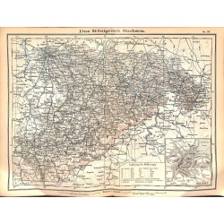 0190	 Map/Print- 	Kingdom Saxony German Reich Sachsen	 - No.	18	Vintage German Map Print 1902 size:26x34cm