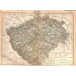 0194	 Map/Print- 	Bohemia Böhmen Europe	 - No.	25	Vintage German Map Print 1902 size:26x34cm