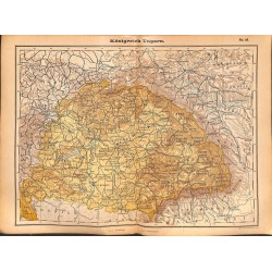 0201	 Map/Print- 	Kingdom Hungary Ungarn Europe	 - No.	32	Vintage German Map Print 1902 size:26x34cm