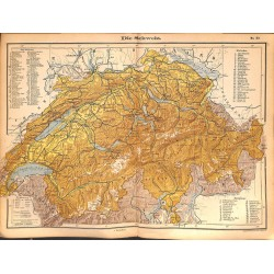 0202	 Map/Print- 	Swiss switzerland Schweiz Europe Helvetia	 - No.	33	Vintage German Map Print 1902 size:26x34cm