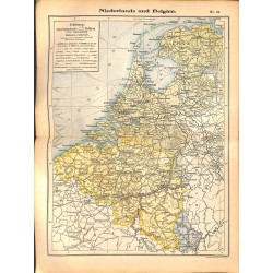 0203	 Map/Print- 	Belgium Netherlands Europe	 - No.	34	Vintage German Map Print 1902 size:26x34cm