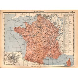 0204	 Map/Print- 	France Frankreich Europe	 - No.	35	Vintage German Map Print 1902 size:26x34cm