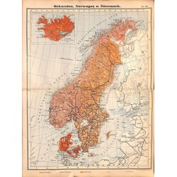 0206	 Map/Print- 	Skandinavia Norway Sweden Denmark	 - No.	37	Vintage German Map Print 1902 size:26x34cm