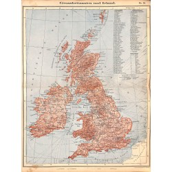 0207	 Map/Print- 	Great Britain Ireland Europe	 - No.	38	Vintage German Map Print 1902 size:26x34cm