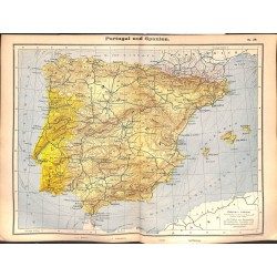 0208	 Map/Print- 	Portugal Spain Spanien Europe	 - No.	39	Vintage German Map Print 1902 size:26x34cm
