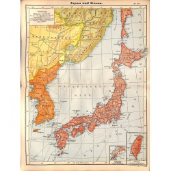 0211	 Map/Print- 	Asia Japan Korea	 - No.	43	Vintage German Map Print 1902 size:26x34cm