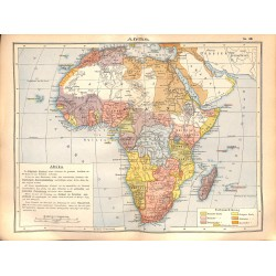 0214	 Map/Print- 	Africa  Arabia Persia Sudan	 - No.	46	Vintage German Map Print 1902 size:26x34cm