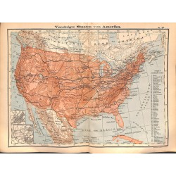 0216	 Map/Print- 	USA 46 States !	 - No.	48	Vintage German Map Print 1902 size:26x34cm