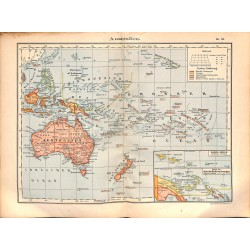 0219	 Map/Print- 	Australia Island Pacific New Zealand Fidschi Cook Island	 - No.	51	Vintage German Map Print 1902 size:26x34cm