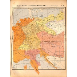 0220	 Map/Print- 	Historic Map Europe 1813 Napoleonic Wars	 - No.	52	Vintage German Map Print 1902 size:26x34cm