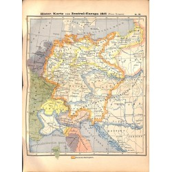 0221	 Map/Print- 	Historic Map Europe 1815 after Napoleonic Wars	 - No.	53	Vintage German Map Print 1902 size:26x34cm