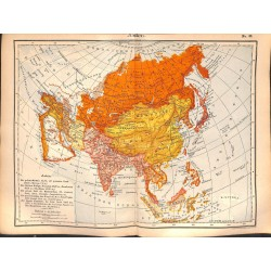 0222	 Map/Print- 	Asia  Russia Arabia India China Japan	 - No.	42	Vintage German Map Print 1902 size:26x34cm