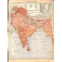 0224	 Map/Print- 	Asia India Indien	 - No.	44	Vintage German Map Print 1902 size:26x34cm