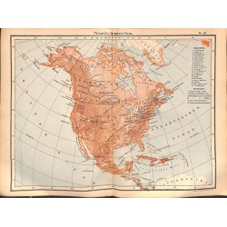 0227	 Map/Print- 	USA Canada North America Cuba Bahamas Grenland	 - No.	47	Vintage German Map Print 1902 size:26x34cm
