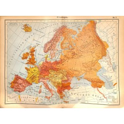0236	 Map/Print- 	Europe Germany Russia France Great Britain	 - No.	03	Vintage German Map Print 1902 size:26x34cm
