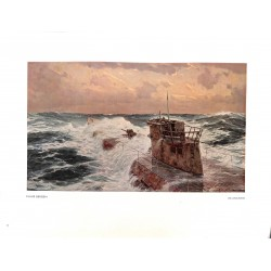 "6019-WWII U-Boot Submarine ""Im Atlantik""by Claus Bergencolor painting"