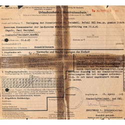 2787 Urlaubsreiseschein  -22.April 1945Sonderluftbild Abteilung OKLPropagandistic leaflet. 100% original !!!