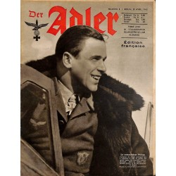 0792	 DER ADLER	 -No.	8	-1943 French edition/ edition francaise	 vintage German Luftwaffe Magazine Air Force WW2 WWII