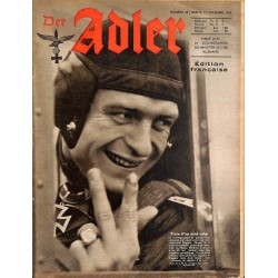 0800	 DER ADLER	 -No.	25	-1942 French edition/ edition francaise	 vintage German Luftwaffe Magazine Air Force WW2 WWII