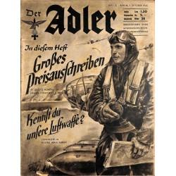0848 DER ADLER -No.20-1940 Italian issue vintage German Luftwaffe Magazine Air Force WW2 WWII
