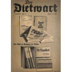5757 DER DIETWART No.  15/ 4.yearNovember 5 1938 content:Unser Bekenntnis zum Buch, Dietarbeit in den Wandergruppen